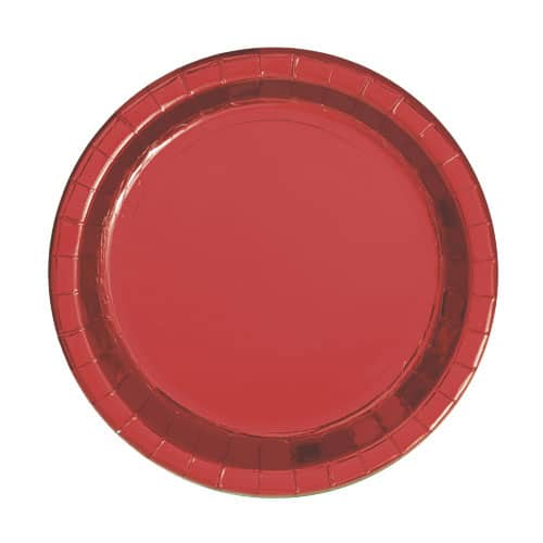 Red Foil Round Paper Plates 17cm - Pack of 8