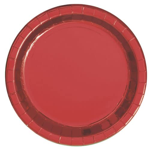 Red Foil Round Paper Plates 22cm - Pack of 8 Product Image