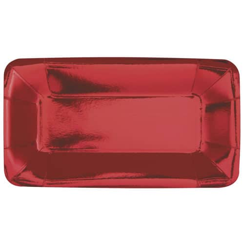 Red Foil Rectangular Appetizer Plate 23cm - Pack of 8 Product Image