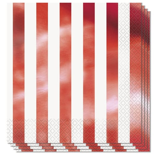 Red Foil Stripes Luncheon Napkins 2Ply 33cm - Pack of 16