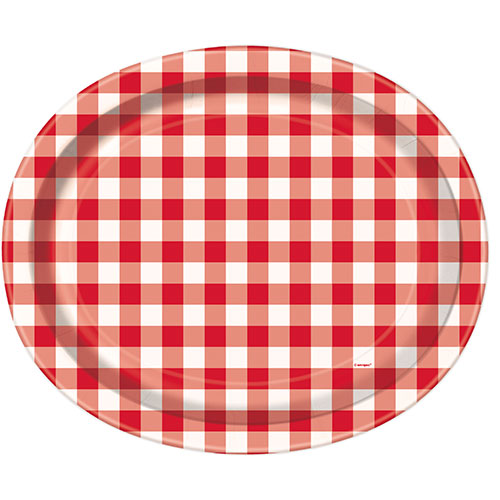 Red Gingham Oval Paper Plates 30cm - Pack of 8