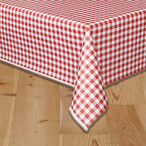 Red Gingham Plastic Tablecover 274cm x 137cm Bundle Product Image