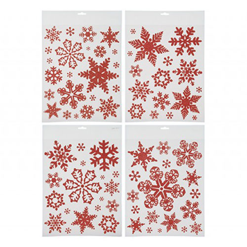 Red Glitter Snowflakes Christmas Stickers Window Decorations