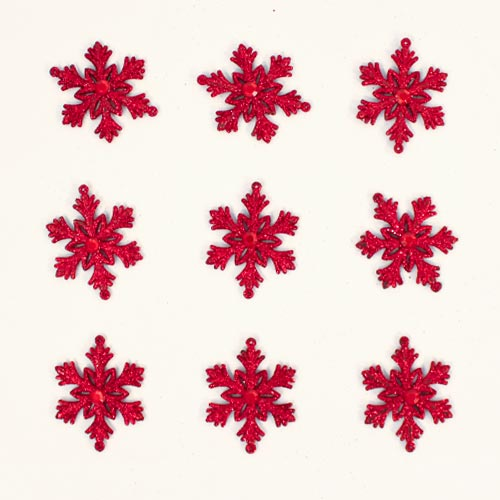 Red Glittered Christmas Snowflakes 7cm - Pack of 9 Product Image