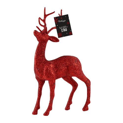 Red Glittered Christmas Stag 25cm