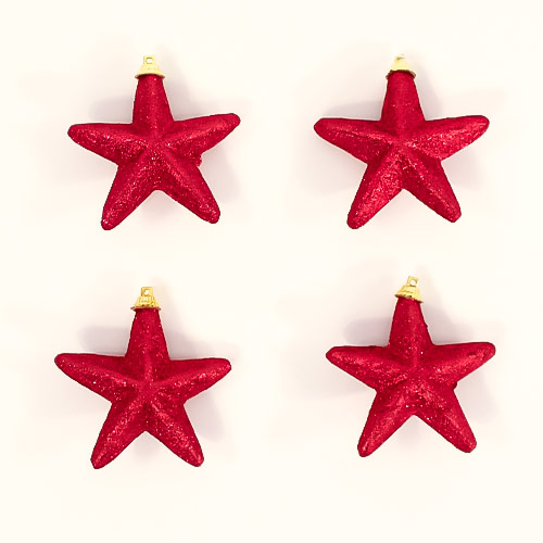 Red Glittered Star Christmas Tree Decorations 8cm - Pack of 4 Product Image