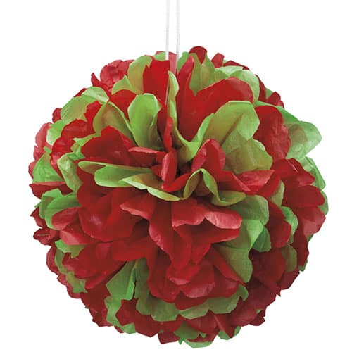 Red and Green Honeycomb Puff Ball Decoration 35cm Product Image