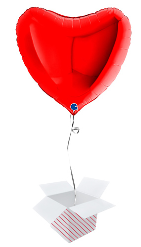 Red Heart Shape Helium Foil Giant Balloon - Inflated Balloon In A Box