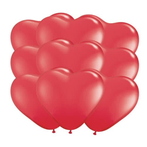 Red Heart Shape Latex Qualatex Balloons 16cm / 6Inch - Pack of 100 Product Image