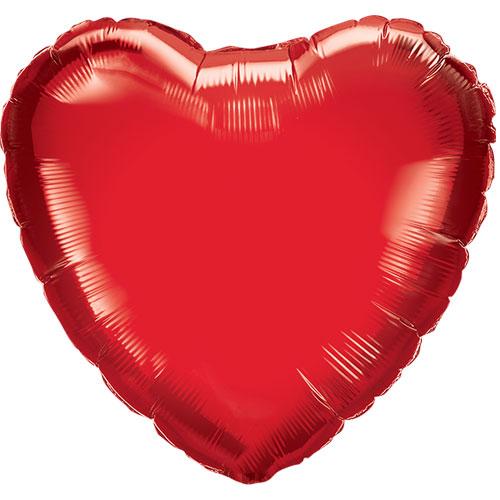 Red Heart Shape Air Fill Foil Qualatex Balloon 23cm