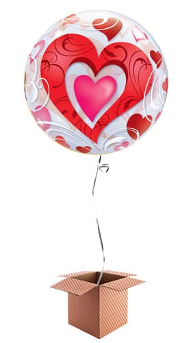 Red Hearts Bubble Helium Qualatex Balloon - Inflated Balloon in a Box Product Image
