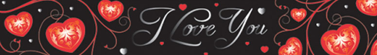 Valentines I Love You Red Hearts Foil Banner 4.5m