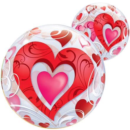 Red Hearts Bubble Qualatex Balloon - 56cm Product Image