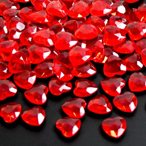 Red 12mm Heart Diamonds Premium Table Gems 28g Product Image