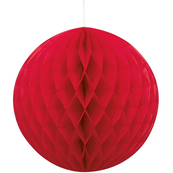 Red Honeycomb Hanging Decoration Ball 20cm Product Image