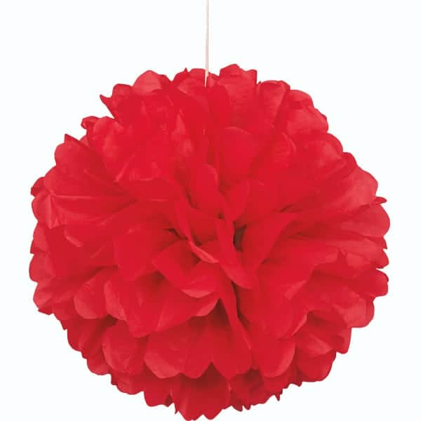 Red Honeycomb Hanging Decoration Puff Ball 40cm