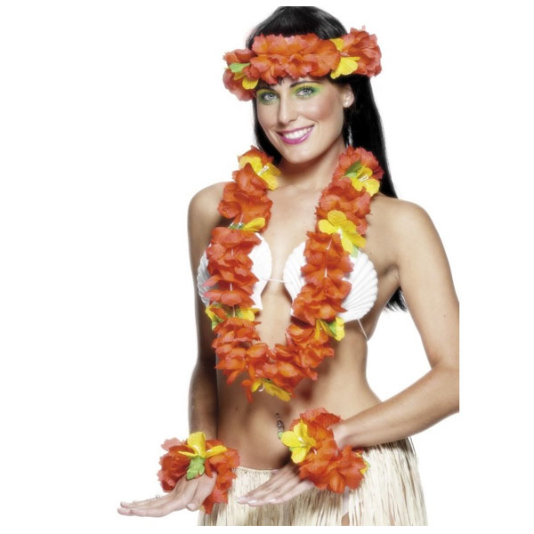 Red Lei with Headband and Wristbands