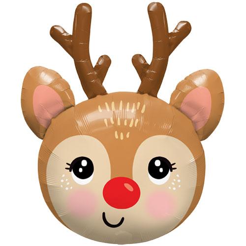 Cute Reindeer Head Christmas Helium Foil Giant Balloon 89cm / 35 in