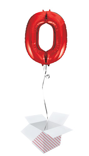 Red Number 0 Helium Foil Giant Balloon - Inflated Balloon in a Box Product Image