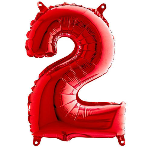 Red Number 2 Air Fill Foil Balloon 36cm / 14 in Product Image