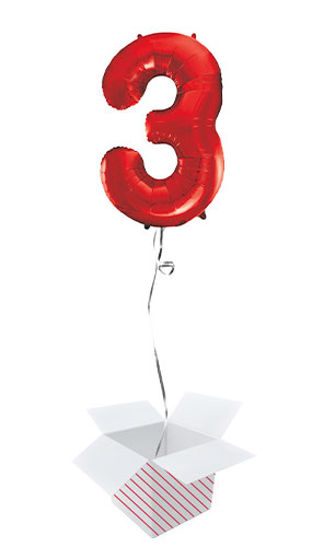 Red Number 3 Helium Foil Giant Balloon - Inflated Balloon in a Box
