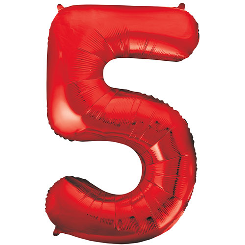 Red Number 5 Helium Foil Giant Balloon 86cm / 34 in