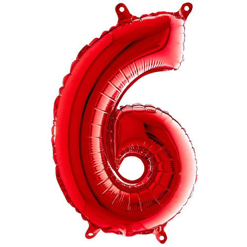 Red Number 6 Air Fill Foil Balloon 36cm / 14 in