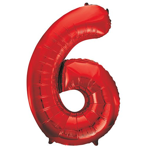 Red Number 6 Helium Foil Giant Balloon 86cm / 34 in Product Image