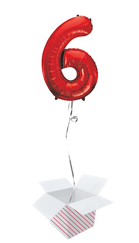 Red Number 6 Helium Foil Giant Balloon - Inflated Balloon in a Box Product Image