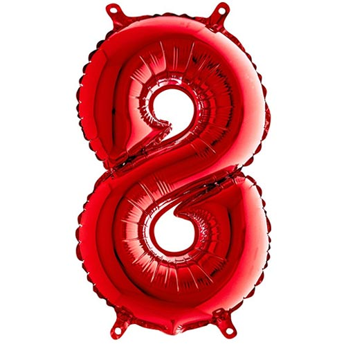 Red Number 8 Air Fill Foil Balloon 35cm / 14 in Product Image