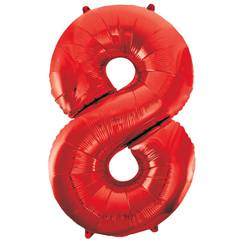 Red Number 8 Helium Foil Giant Balloon 86cm / 34 in