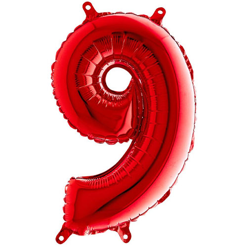 Red Number 9 Air Fill Foil Balloon 35cm / 14 in