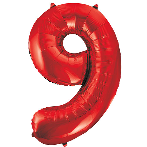 Red Number 9 Helium Foil Giant Balloon 86cm / 34 in Product Image
