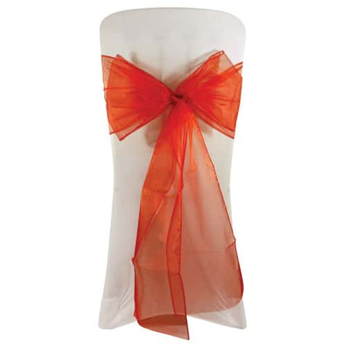 Red Organza Wedding Chair Bow Tie - 3m x 22cm Pack Of 6