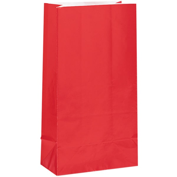 Red Paper Party Bag - Pack of 12 Product Image