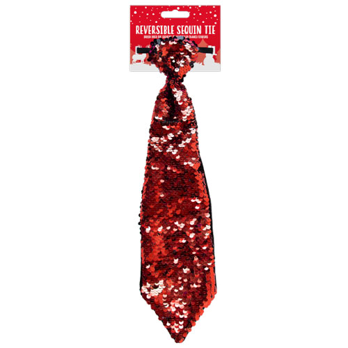 Red Reversible Sequin Tie Christmas Fancy Dress Product Image