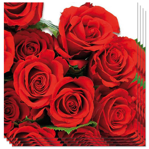 Red Roses Luncheon Napkins 3 Ply - 33cm - Pack of 20 Product Image