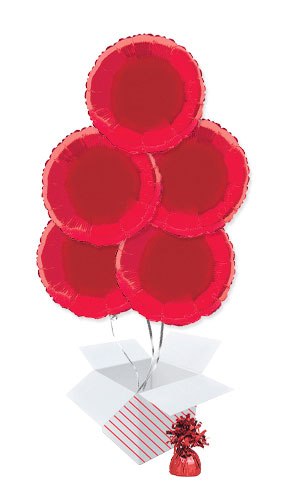 Red Round Foil Helium Balloon Bouquet - 5 Inflated Balloons In A Box Product Image