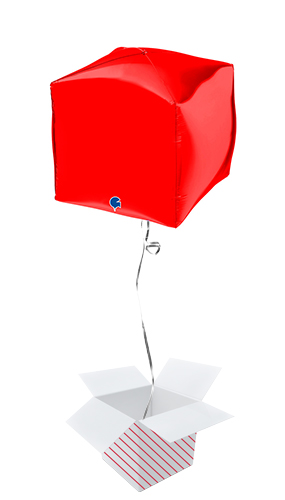 Red 4D Square Shape Foil Helium Balloon - Inflated Balloon in a Box Product Image