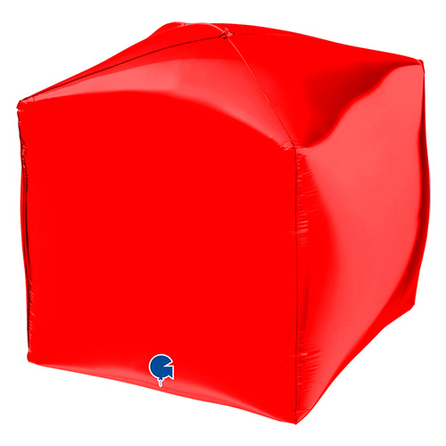 Red 4D Square Shape Foil Helium Balloon 38cm / 15 in Product Image