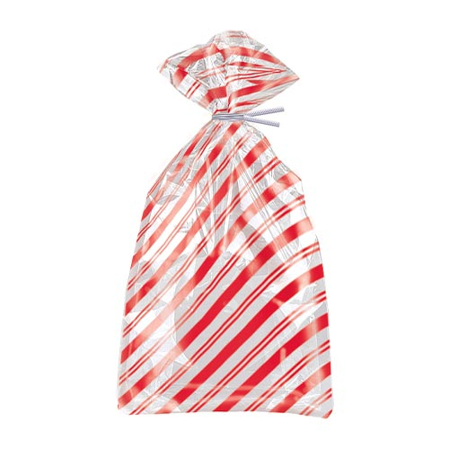 Red Stripes Cello Gift Bags with Twist Ties - Pack of 20 Product Image