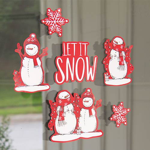 Red Stripes Christmas Snowman Window Stickers Sheet Decoration
