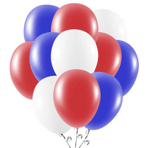 Red White And Blue Latex Balloons 23cm / 9Inch - Pack of 50 Product Image