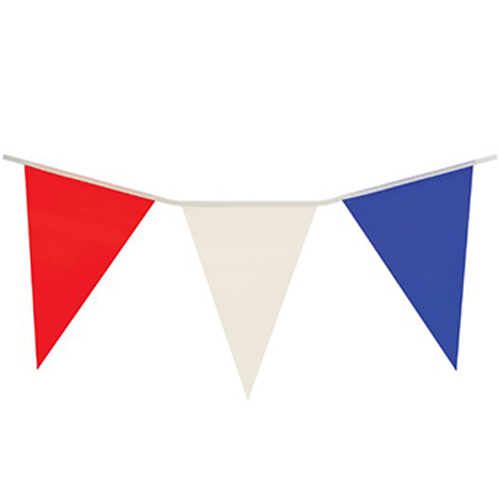 Red White and Blue Plastic Pennant Bunting 7m