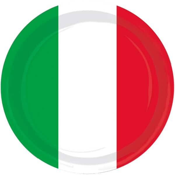 Red White and Green Themed Round Paper Plates 23cm - Pack of 8 Product Image