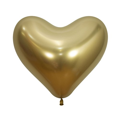 Reflex Crystal Gold Heart Shape Latex Balloons 35cm / 14 in - Pack of 50 Product Image
