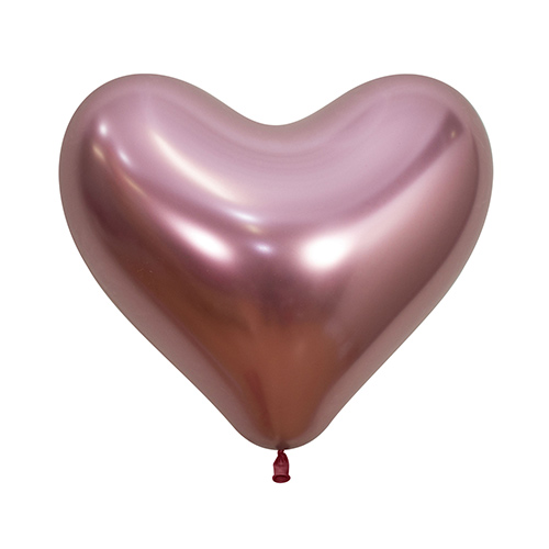 Reflex Crystal Pink Heart Shape Latex Balloons 35cm / 14 in - Pack of 50 Product Image