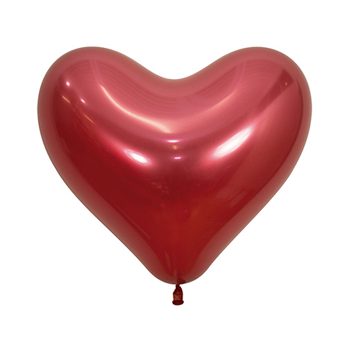 Reflex Crystal Red Heart Shape Latex Balloons 35cm / 14 in - Pack of 50 Product Image