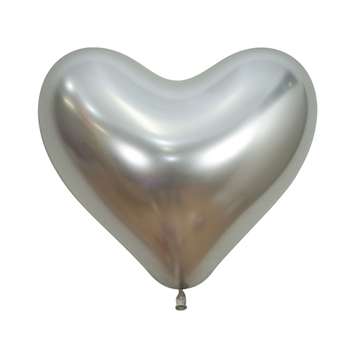 Reflex Crystal Silver Heart Shape Latex Balloons 35cm / 14 in - Pack of 50 Product Image