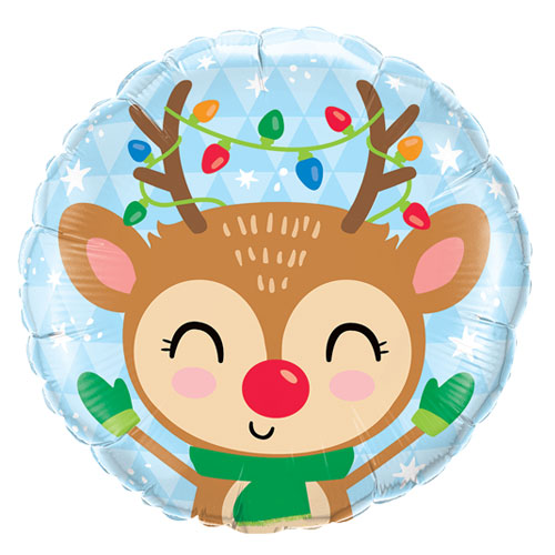 Reindeer & Lights Christmas Round Foil Helium Balloon 46cm / 18 in Product Image